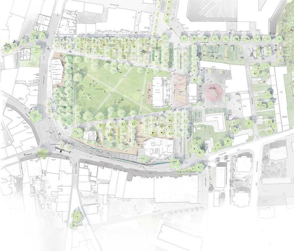 Plan du parc et rez de chaussée_éch 200ème